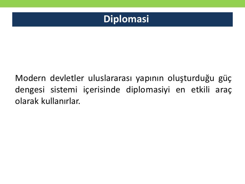 Diplomasi Modern devletler uluslararası yapının oluşturduğu güç dengesi sistemi içerisinde diplomasiyi en etkili araç olarak kullanırlar.