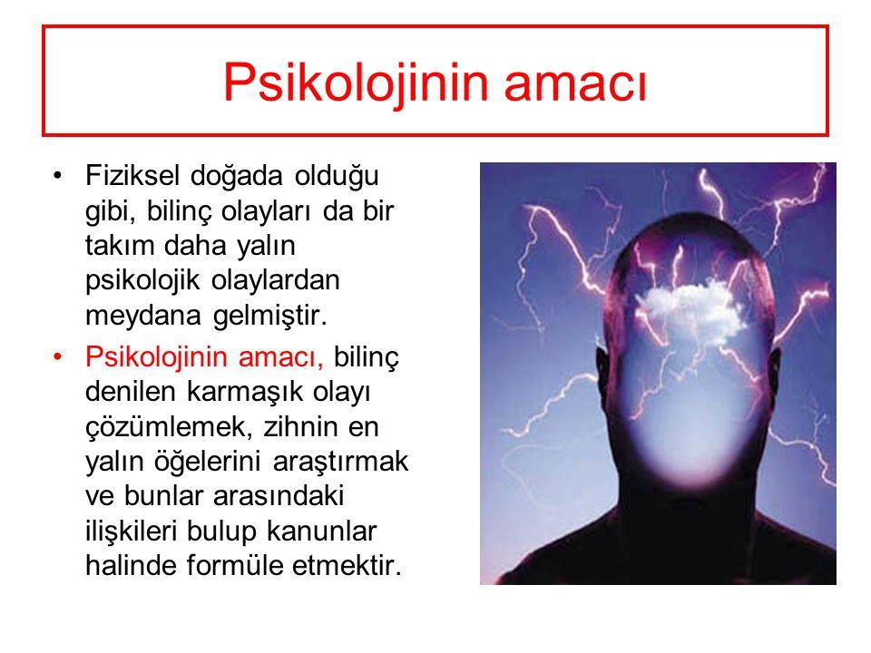 Psikolojinin amacı Fiziksel doğada olduğu gibi, bilinç olayları da bir takım daha yalın psikolojik olaylardan meydana gelmiştir. Psikolojinin amacı, b