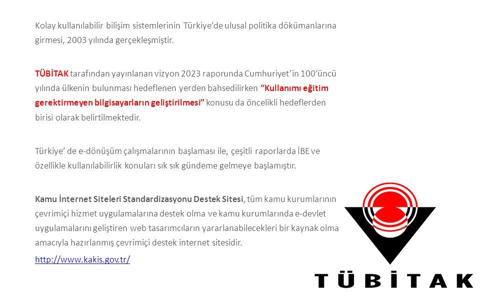 Kolay kullanılabilir bilişim sistemlerinin Türkiye'de ulusal politika dökümanlarına girmesi, 2003 yılında gerçekleşmiştir. TÜBİTAK tarafından yayınlan