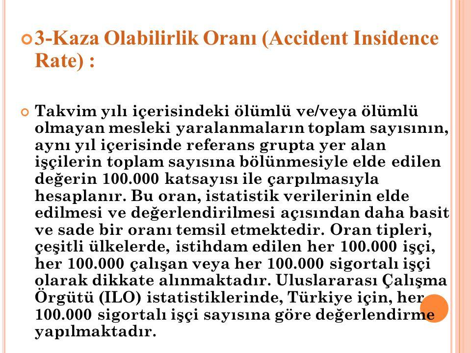 3-Kaza Olabilirlik Oranı (Accident Insidence Rate) : Takvim yılı içerisindeki ölümlü ve/veya ölümlü olmayan mesleki yaralanmaların toplam sayısının, a