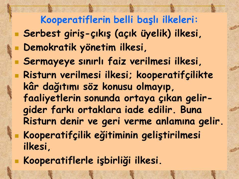 Kooperatiflerin belli başlı ilkeleri: Serbest giriş-çıkış (açık üyelik) ilkesi, Demokratik yönetim ilkesi, Sermayeye sınırlı faiz verilmesi ilkesi, Ri