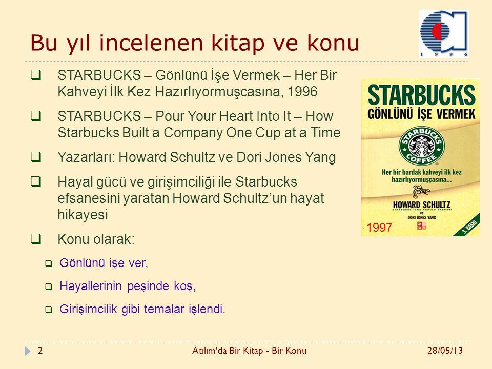 2 Bu yıl incelenen kitap ve konu  STARBUCKS – Gönlünü İşe Vermek – Her Bir Kahveyi İlk Kez Hazırlıyormuşcasına, 1996  STARBUCKS – Pour Your Heart Into It – How Starbucks Built a Company One Cup at a Time  Yazarları: Howard Schultz ve Dori Jones Yang  Hayal gücü ve girişimciliği ile Starbucks efsanesini yaratan Howard Schultz'un hayat hikayesi  Konu olarak:  Gönlünü işe ver,  Hayallerinin peşinde koş,  Girişimcilik gibi temalar işlendi.