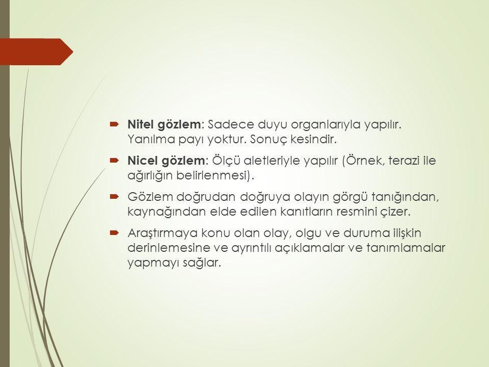  Nitel gözlem : Sadece duyu organlarıyla yapılır. Yanılma payı yoktur. Sonuç kesindir.  Nicel gözlem : Ölçü aletleriyle yapılır (Örnek, terazi ile a