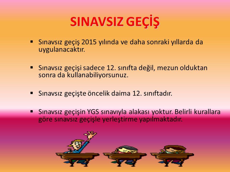 SINAVSIZ GEÇİŞ  Sınavsız geçiş 2015 yılında ve daha sonraki yıllarda da uygulanacaktır.  Sınavsız geçişi sadece 12. sınıfta değil, mezun olduktan so
