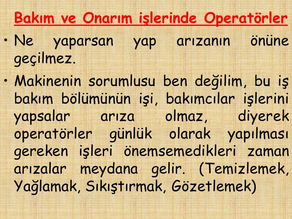 Bakım ve Onarım işlerinde Operatörler Operatörlerin işi sadece üretmek değildir.