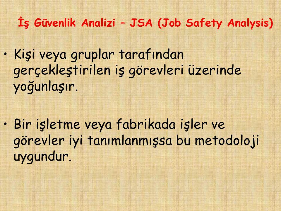 İş Güvenlik Analizi – JSA (Job Safety Analysis) Kişi veya gruplar tarafından gerçekleştirilen iş görevleri üzerinde yoğunlaşır.