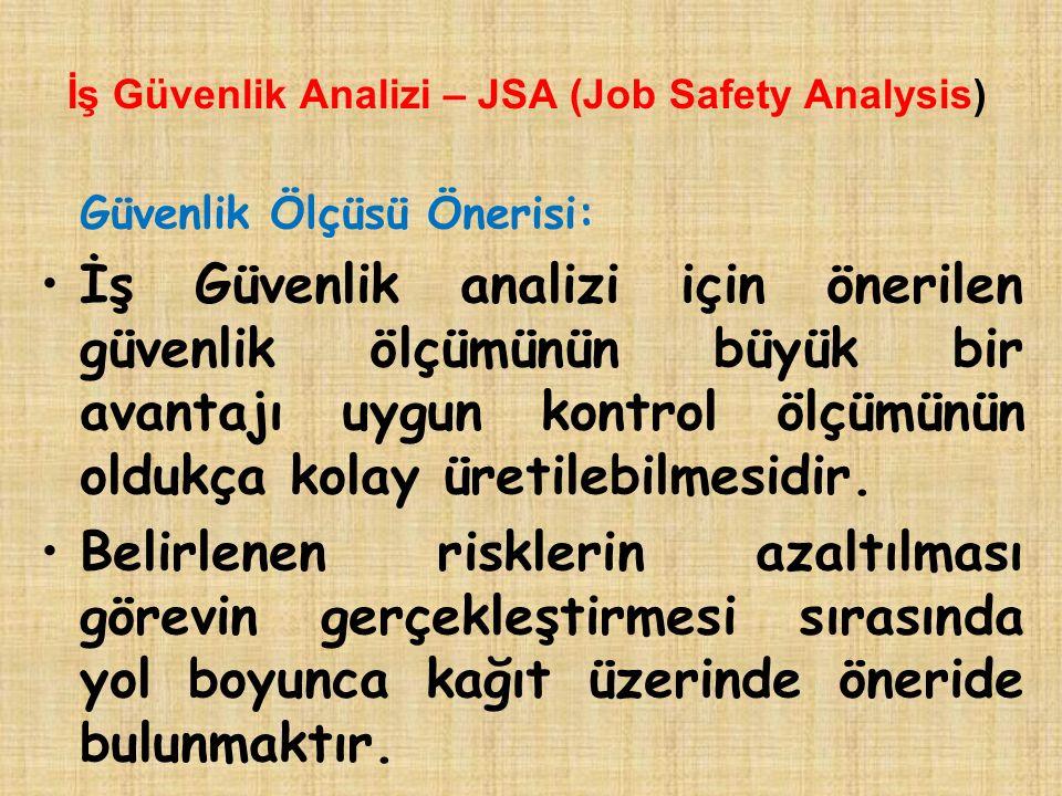 İş Güvenlik Analizi – JSA (Job Safety Analysis) Güvenlik Ölçüsü Önerisi: İş Güvenlik analizi için önerilen güvenlik ölçümünün büyük bir avantajı uygun kontrol ölçümünün oldukça kolay üretilebilmesidir.