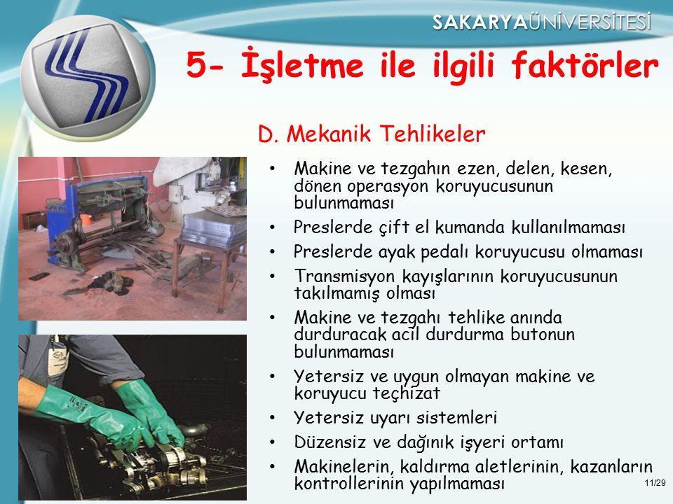 11/29 D. Mekanik Tehlikeler 5- İşletme ile ilgili faktörler Makine ve tezgahın ezen, delen, kesen, dönen operasyon koruyucusunun bulunmaması Preslerde