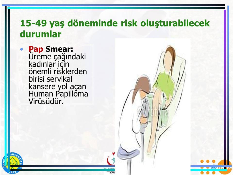 15-49 yaş döneminde risk oluşturabilecek durumlar Pap Smear: Üreme çağındaki kadınlar için önemli risklerden birisi servikal kansere yol açan Human Pa