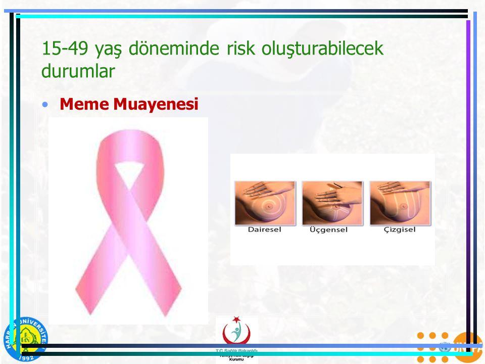 15-49 yaş döneminde risk oluşturabilecek durumlar Meme Muayenesi