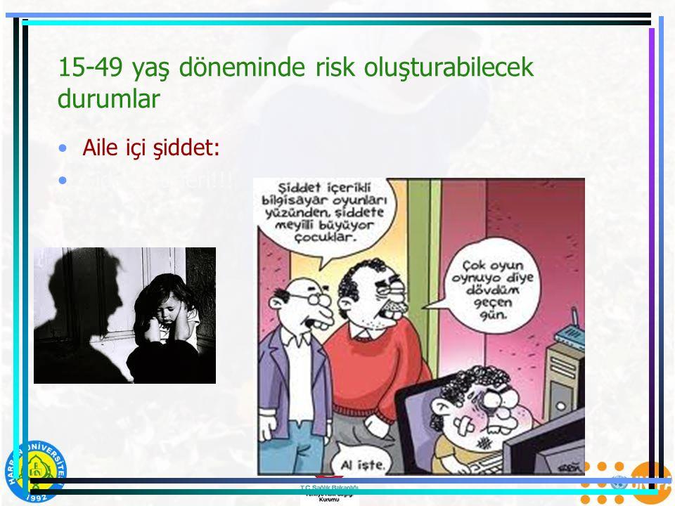 15-49 yaş döneminde risk oluşturabilecek durumlar Aile içi şiddet: Şiddet türleri!!!
