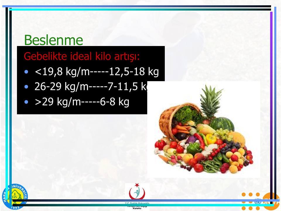 Beslenme Gebelikte ideal kilo artışı: <19,8 kg/m-----12,5-18 kg 26-29 kg/m-----7-11,5 kg >29 kg/m-----6-8 kg