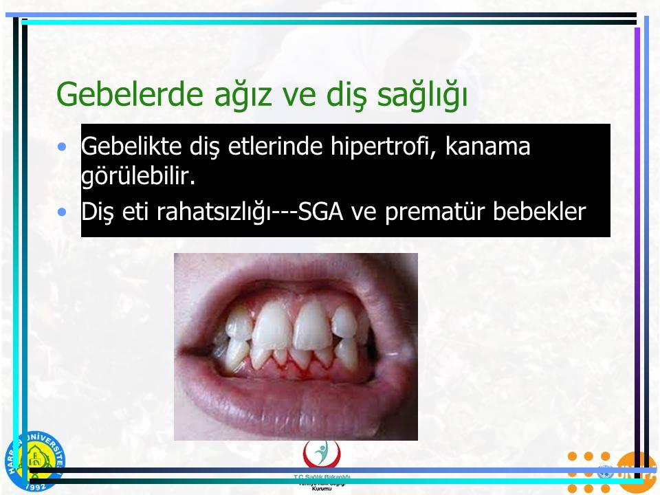 Gebelerde ağız ve diş sağlığı Gebelikte diş etlerinde hipertrofi, kanama görülebilir. Diş eti rahatsızlığı---SGA ve prematür bebekler