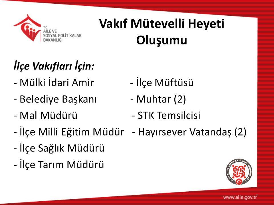 SYD Vakıflarının İdari Yapısı 2.VAKIF BAŞKANI: Mülki idare amirleri vakfın tabii başkanıdır.