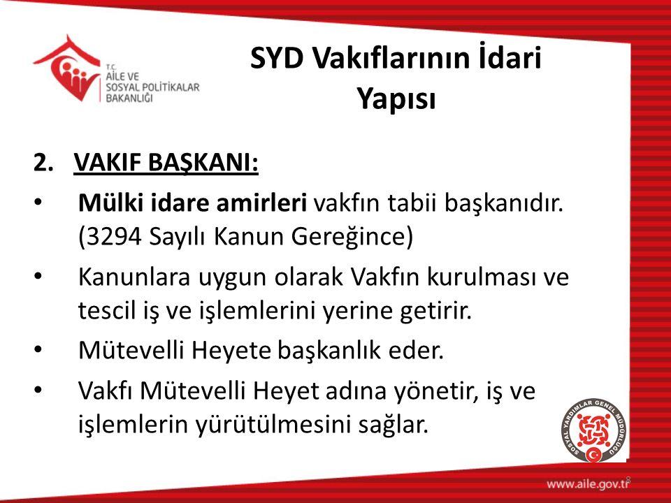 SYD Vakıflarının İdari Yapısı 2. VAKIF BAŞKANI: Mülki idare amirleri vakfın tabii başkanıdır.