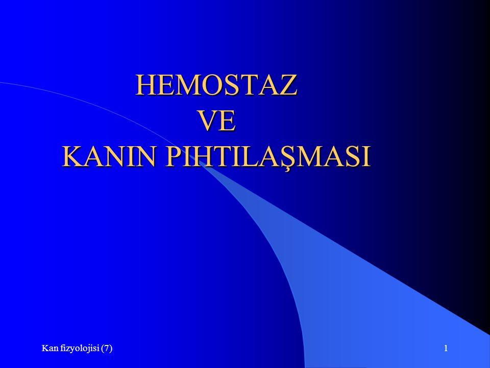 Kan fizyolojisi (7)1 HEMOSTAZ VE KANIN PIHTILAŞMASI