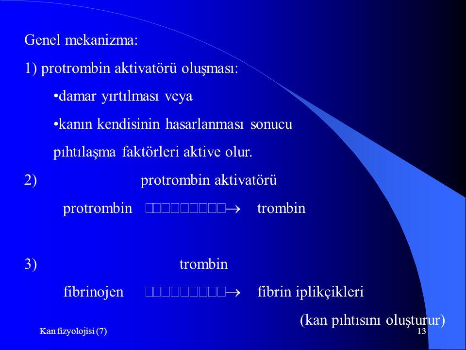 Kan fizyolojisi (7)13 Genel mekanizma: 1) protrombin aktivatörü oluşması: damar yırtılması veya kanın kendisinin hasarlanması sonucu pıhtılaşma faktörleri aktive olur.