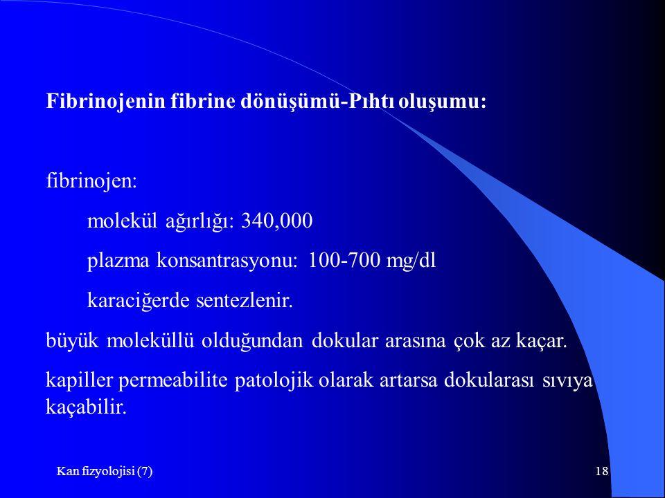 Kan fizyolojisi (7)18 Fibrinojenin fibrine dönüşümü-Pıhtı oluşumu: fibrinojen: molekül ağırlığı: 340,000 plazma konsantrasyonu: 100-700 mg/dl karaciğerde sentezlenir.