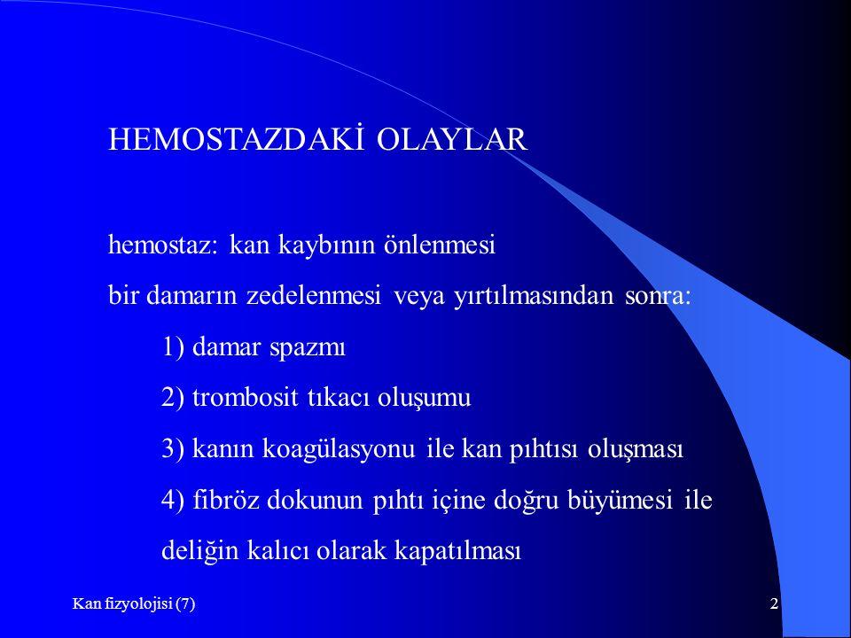 Kan fizyolojisi (7)2 HEMOSTAZDAKİ OLAYLAR hemostaz: kan kaybının önlenmesi bir damarın zedelenmesi veya yırtılmasından sonra: 1) damar spazmı 2) tromb
