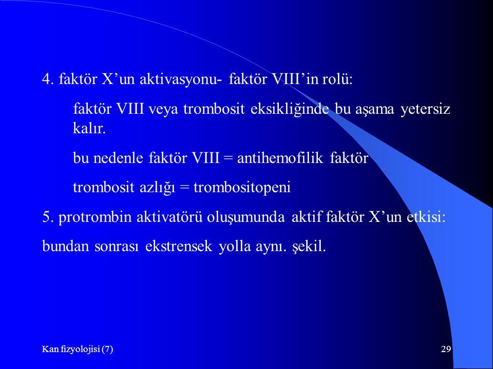 Kan fizyolojisi (7)29 4. faktör X'un aktivasyonu- faktör VIII'in rolü: faktör VIII veya trombosit eksikliğinde bu aşama yetersiz kalır. bu nedenle fak