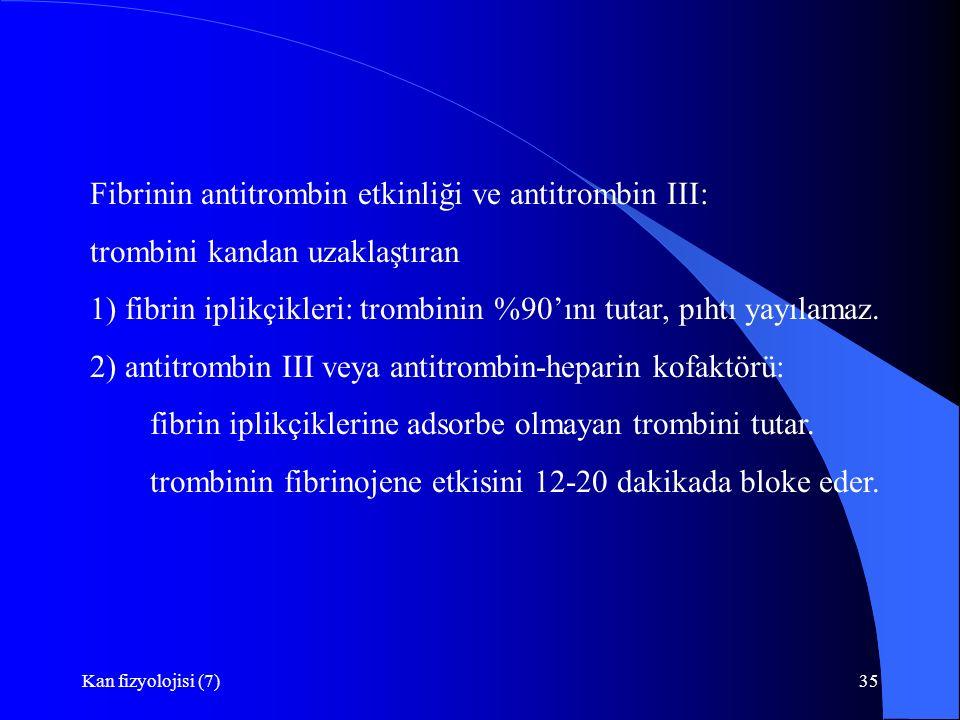 Kan fizyolojisi (7)35 Fibrinin antitrombin etkinliği ve antitrombin III: trombini kandan uzaklaştıran 1) fibrin iplikçikleri: trombinin %90'ını tutar, pıhtı yayılamaz.