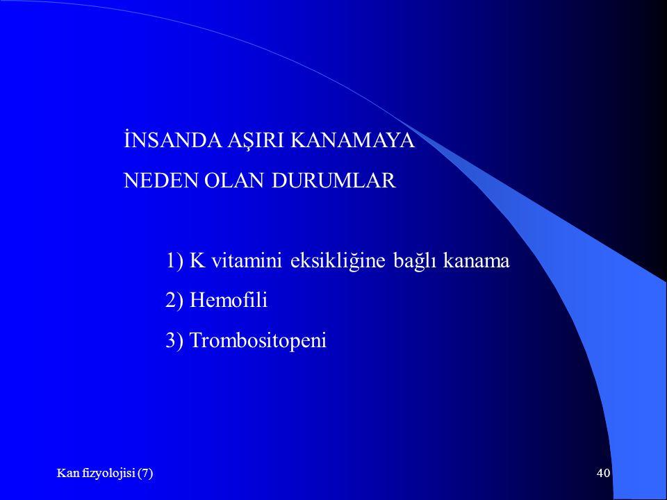 Kan fizyolojisi (7)40 İNSANDA AŞIRI KANAMAYA NEDEN OLAN DURUMLAR 1) K vitamini eksikliğine bağlı kanama 2) Hemofili 3) Trombositopeni