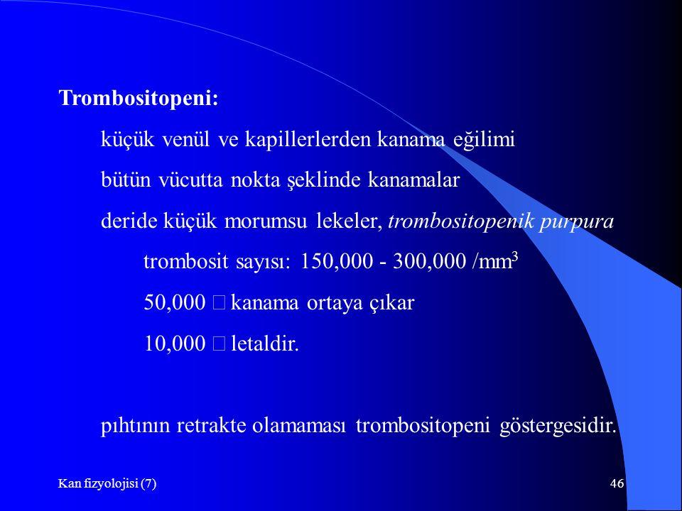 Kan fizyolojisi (7)46 Trombositopeni: küçük venül ve kapillerlerden kanama eğilimi bütün vücutta nokta şeklinde kanamalar deride küçük morumsu lekeler, trombositopenik purpura trombosit sayısı: 150,000 - 300,000 /mm 3 50,000  kanama ortaya çıkar 10,000  letaldir.