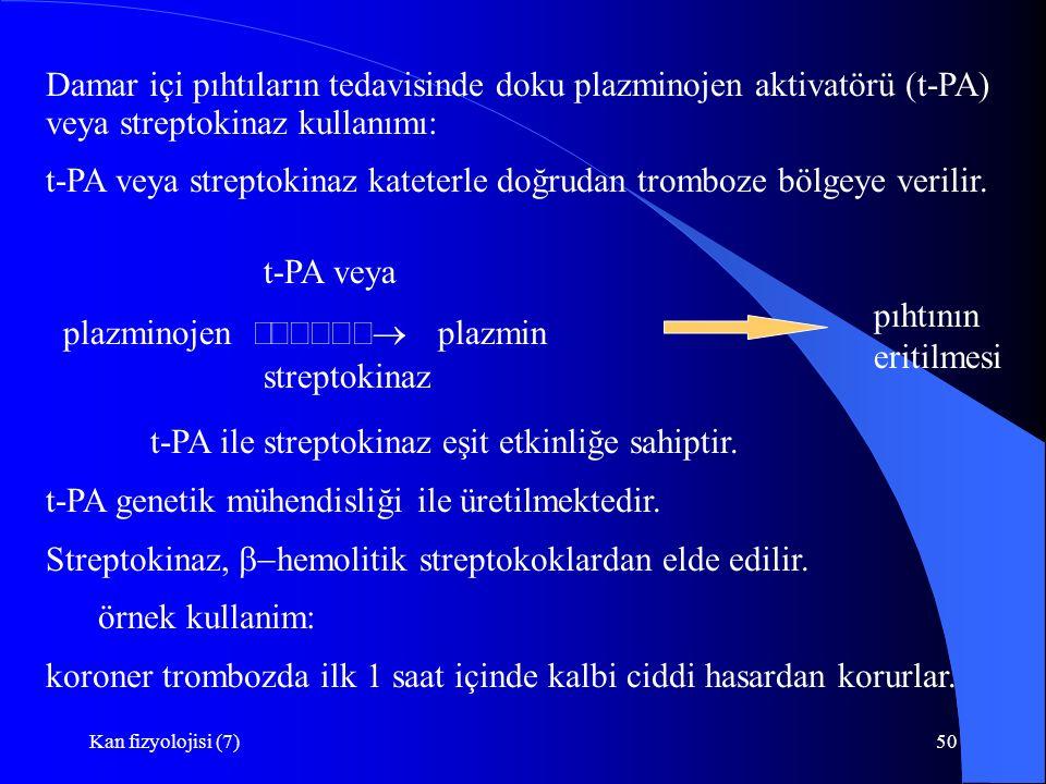 Kan fizyolojisi (7)50 Damar içi pıhtıların tedavisinde doku plazminojen aktivatörü (t-PA) veya streptokinaz kullanımı: t-PA veya streptokinaz kateterl