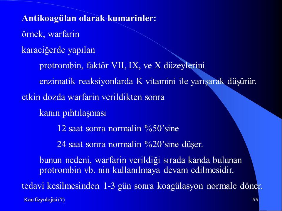 Kan fizyolojisi (7)55 Antikoagülan olarak kumarinler: örnek, warfarin karaciğerde yapılan protrombin, faktör VII, IX, ve X düzeylerini enzimatik reaksiyonlarda K vitamini ile yarışarak düşürür.