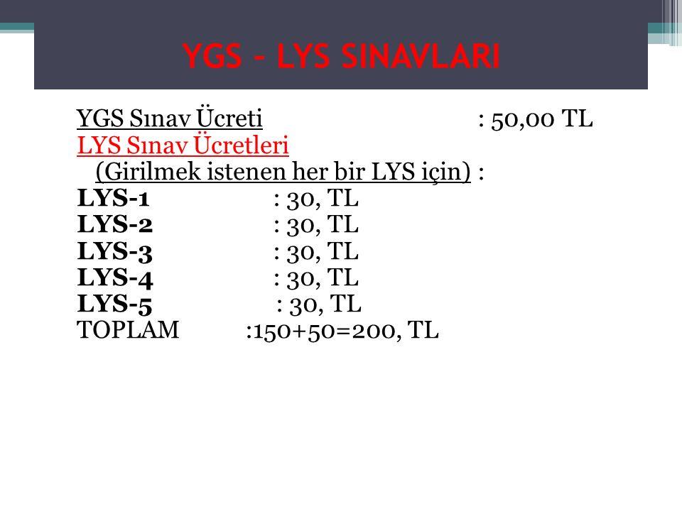 YGS – LYS SINAVLARI YGS Sınav Ücreti : 50,00 TL LYS Sınav Ücretleri (Girilmek istenen her bir LYS için) : LYS-1: 30, TL LYS-2: 30, TL LYS-3: 30, TL LYS-4: 30, TL LYS-5 : 30, TL TOPLAM :150+50=200, TL