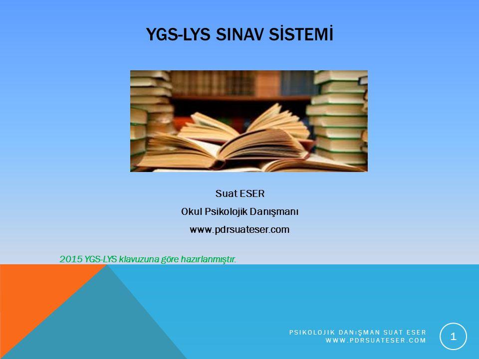 YGS-LYS SINAV SİSTEMİ Suat ESER Okul Psikolojik Danışmanı www.pdrsuateser.com 2015 YGS-LYS klavuzuna göre hazırlanmıştır. PSIKOLOJIK DANıŞMAN SUAT ESE