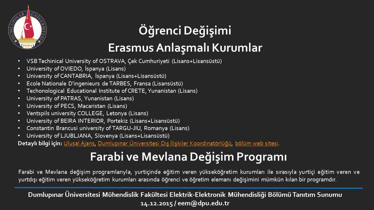Öğrenci Değişimi VSB Techinical University of OSTRAVA, Çek Cumhuriyeti (Lisans+Lisansüstü) University of OVIEDO, İspanya (Lisans) University of CANTAB