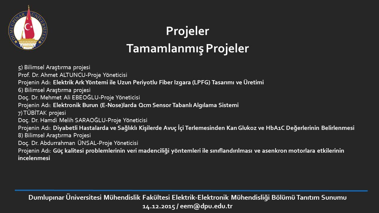 Projeler 5) Bilimsel Araştırma projesi Prof. Dr. Ahmet ALTUNCU-Proje Yöneticisi Projenin Adı: Elektrik Ark Yöntemi ile Uzun Periyotlu Fiber Izgara (LP