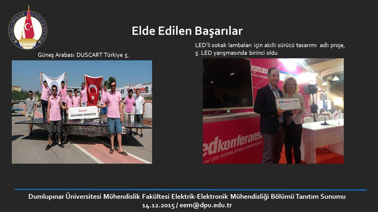 Elde Edilen Başarılar Güneş Arabası DUSCART Türkiye 5. LED'li sokak lambaları için akıllı sürücü tasarımı adlı proje, 5. LED yarışmasında birinci oldu