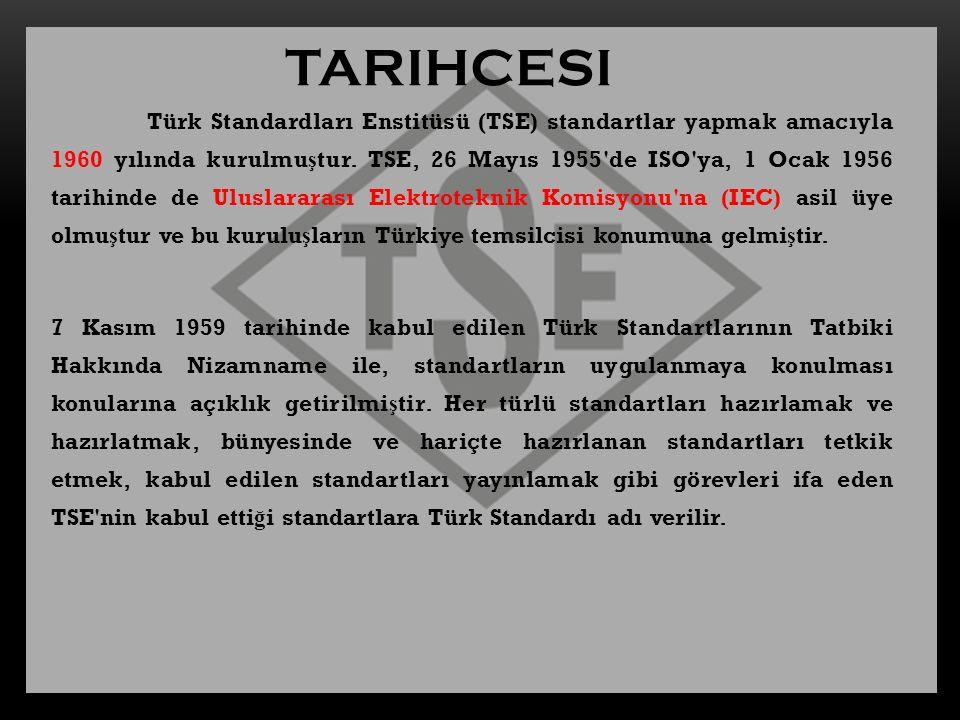 Türk Standardları Enstitüsü (TSE) standartlar yapmak amacıyla 1960 yılında kurulmu ş tur. TSE, 26 Mayıs 1955'de ISO'ya, 1 Ocak 1956 tarihinde de Ulusl
