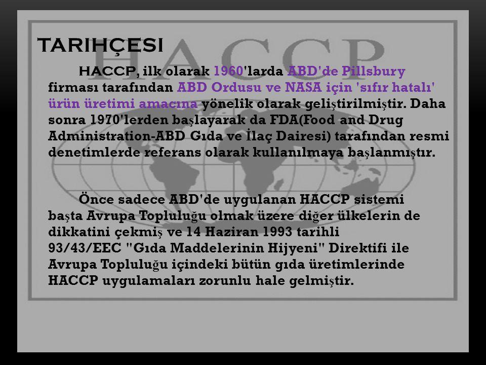 TARIHÇESI HACCP, ilk olarak 1960'larda ABD'de Pillsbury firması tarafından ABD Ordusu ve NASA için 'sıfır hatalı' ürün üretimi amacına yönelik olarak