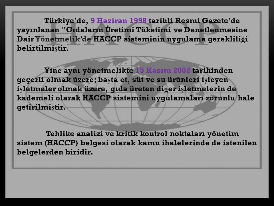 Türkiye'de, 9 Haziran 1998 tarihli Resmi Gazete'de yayınlanan