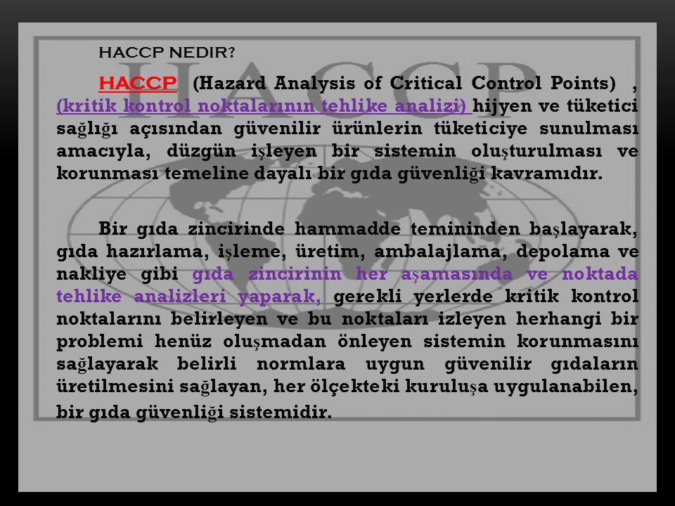 HACCP NEDIR? HACCP (Hazard Analysis of Critical Control Points), (kritik kontrol noktalarının tehlike analizi) hijyen ve tüketici sa ğ lı ğ ı açısında