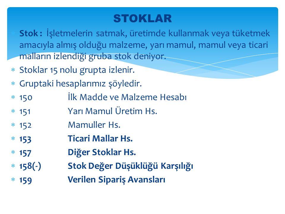 STOKLAR  Stok : İşletmelerin satmak, üretimde kullanmak veya tüketmek amacıyla almış olduğu malzeme, yarı mamul, mamul veya ticari malların izlendiği gruba stok deniyor.