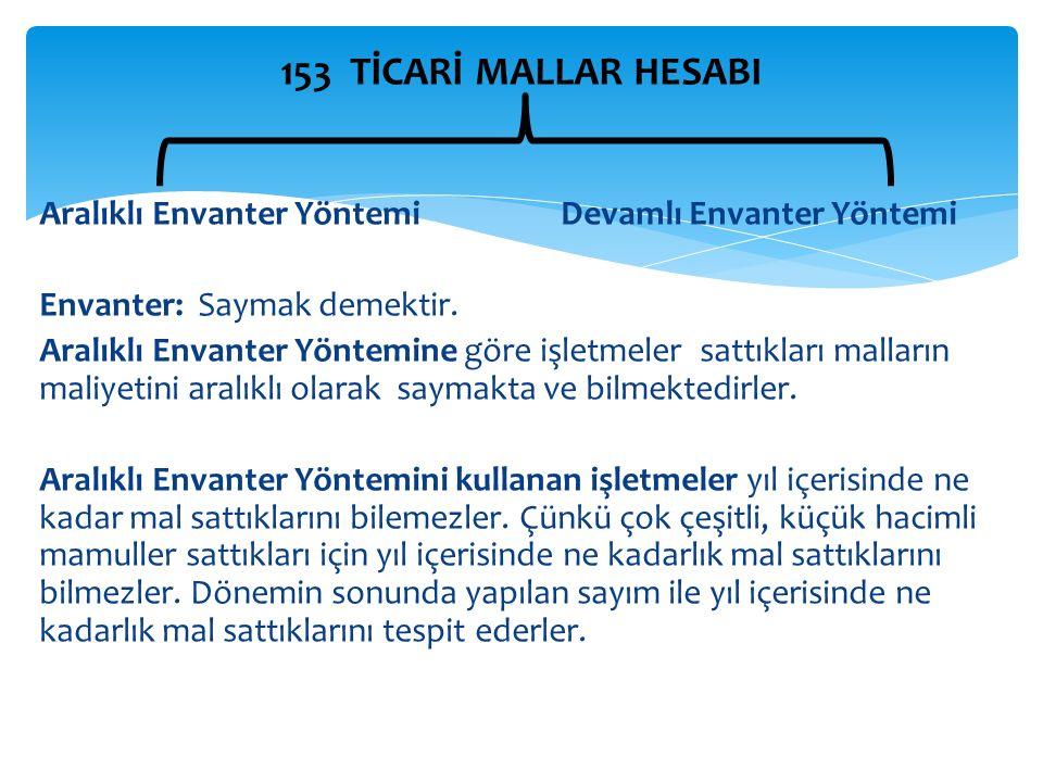 153 TİCARİ MALLAR HESABI Aralıklı Envanter YöntemiDevamlı Envanter Yöntemi Envanter: Saymak demektir.