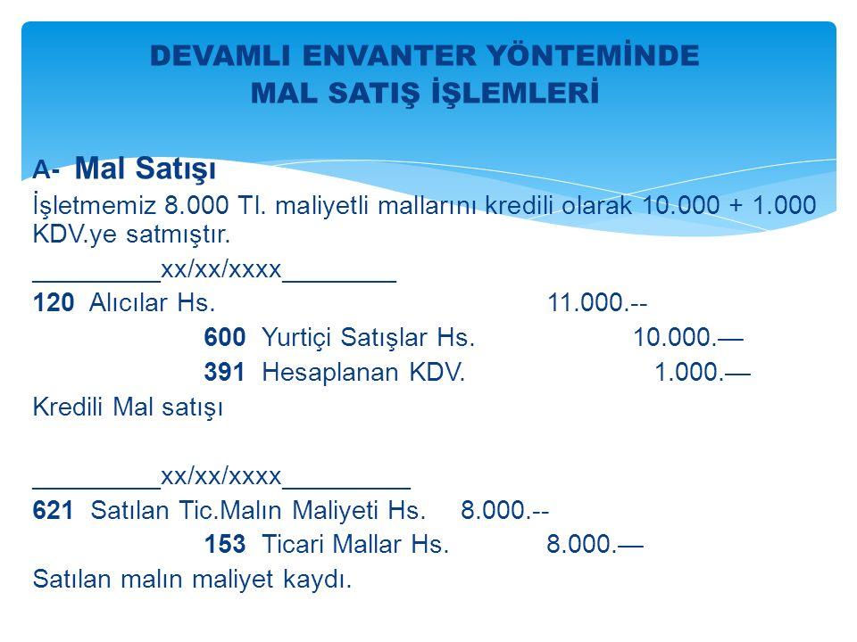 DEVAMLI ENVANTER YÖNTEMİNDE MAL SATIŞ İŞLEMLERİ A- Mal Satışı İşletmemiz 8.000 Tl.