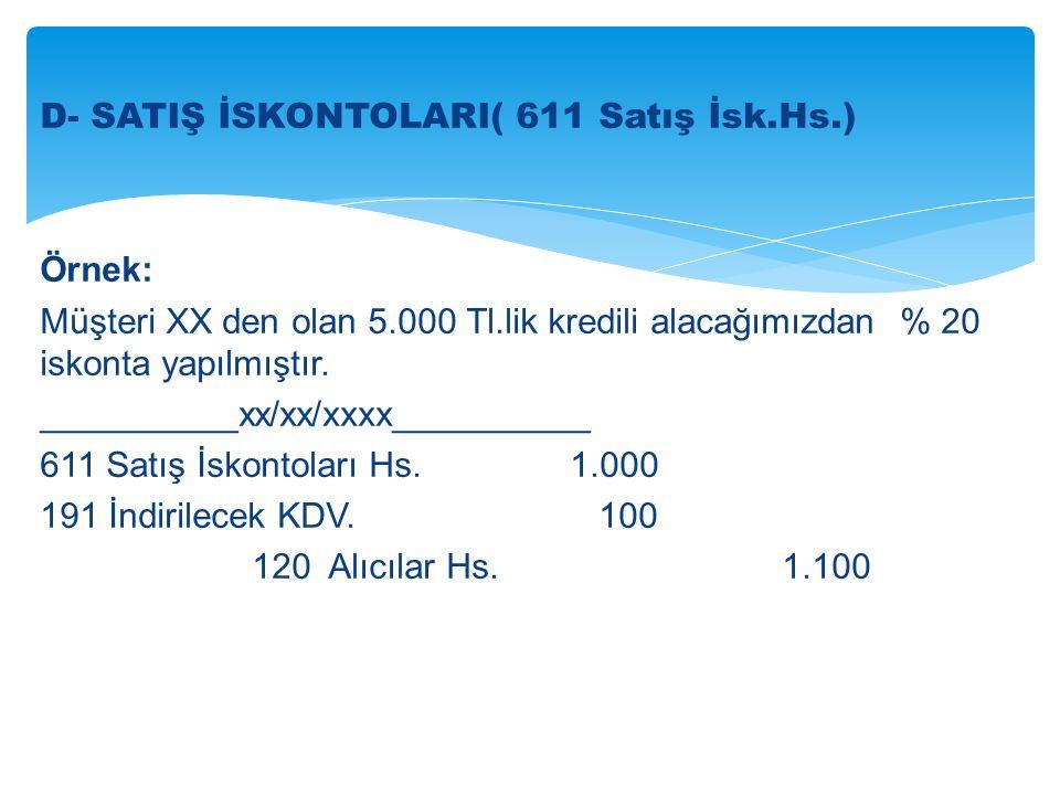 D- SATIŞ İSKONTOLARI( 611 Satış İsk.Hs.) Örnek: Müşteri XX den olan 5.000 Tl.lik kredili alacağımızdan % 20 iskonta yapılmıştır.