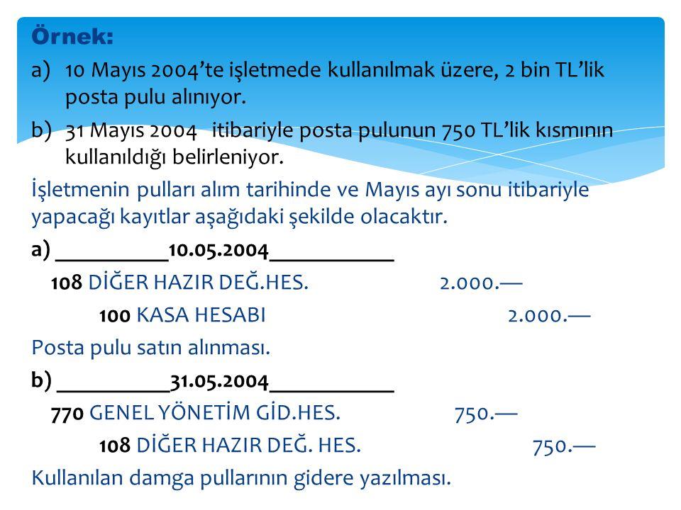 Örnek: a)10 Mayıs 2004'te işletmede kullanılmak üzere, 2 bin TL'lik posta pulu alınıyor.