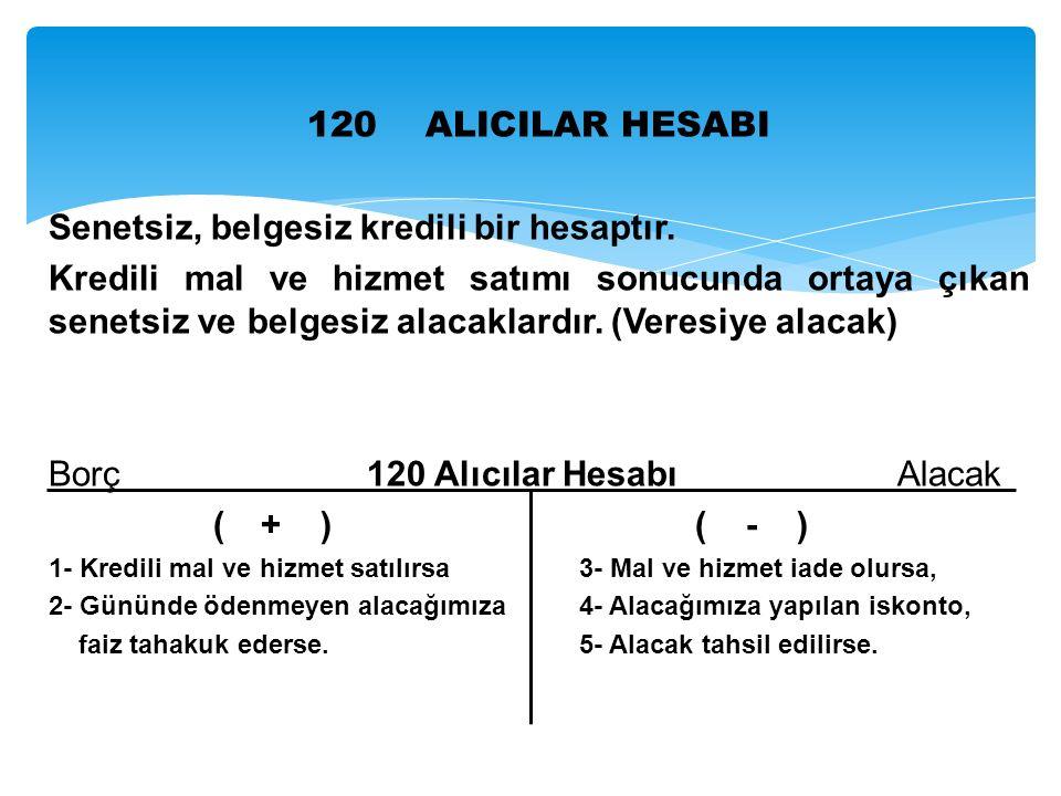 120 ALICILAR HESABI Senetsiz, belgesiz kredili bir hesaptır.