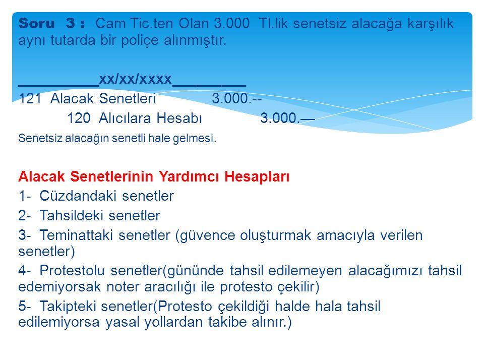 Soru 3 : Cam Tic.ten Olan 3.000 Tl.lik senetsiz alacağa karşılık aynı tutarda bir poliçe alınmıştır.