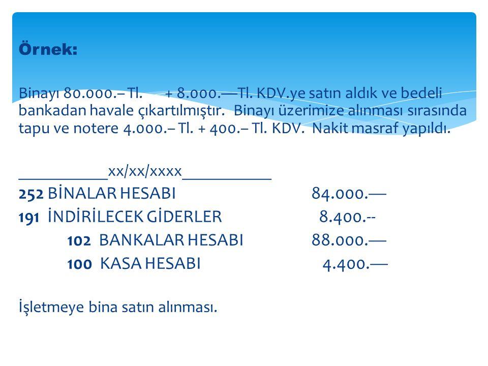 Örnek: Binayı 80.000.– Tl.+ 8.000.—Tl.