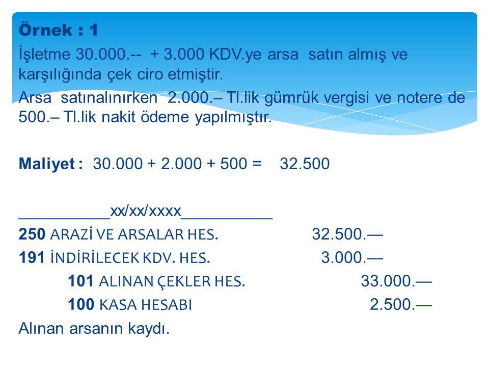 Örnek : 1 İşletme 30.000.-- + 3.000 KDV.ye arsa satın almış ve karşılığında çek ciro etmiştir.