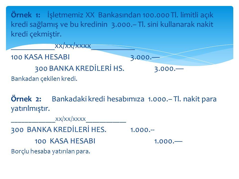 Örnek 1: İşletmemiz XX Bankasından 100.000 Tl.