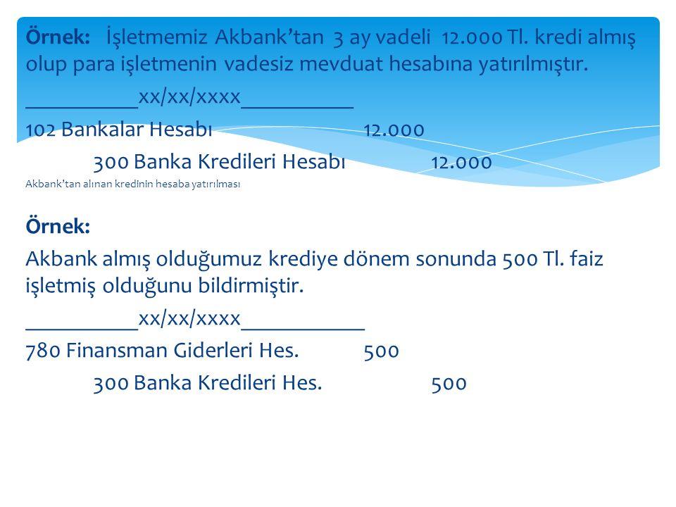 Örnek: İşletmemiz Akbank'tan 3 ay vadeli 12.000 Tl.