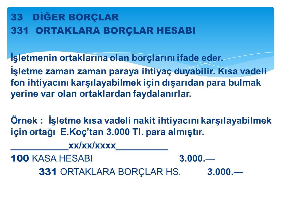 33 DİĞER BORÇLAR 331 ORTAKLARA BORÇLAR HESABI İşletmenin ortaklarına olan borçlarını ifade eder.
